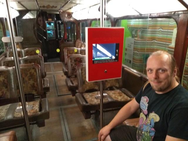 """Dan aboard a restored """"Coronation"""" tram"""