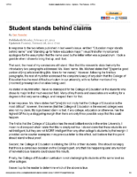 Student stands behind claims
