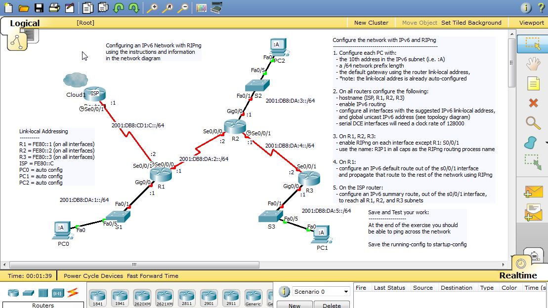 Packet Tracer 6 Activity - RIPng and IPv6 | Danscourses