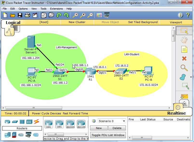 Lab Activity Diagram/Topology Packet Tracer - Screenshot