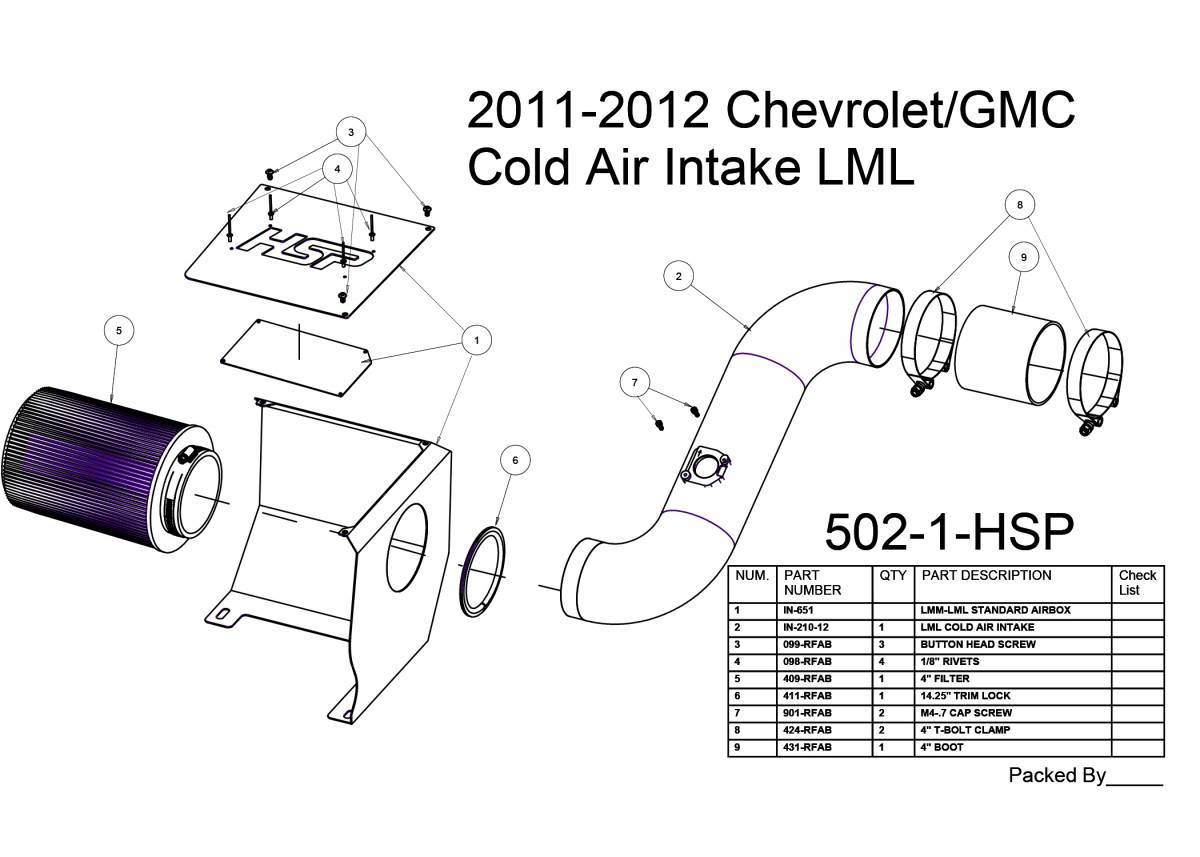 Chevrolet Gmc Cold Air Intake Blood Red Hspsel