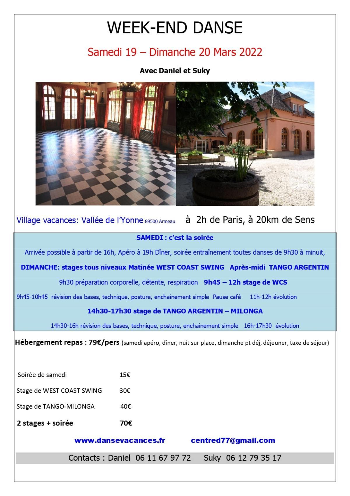 Week-end de danse du 19 au 20 mars 2022 à la Valée de l'Yonne