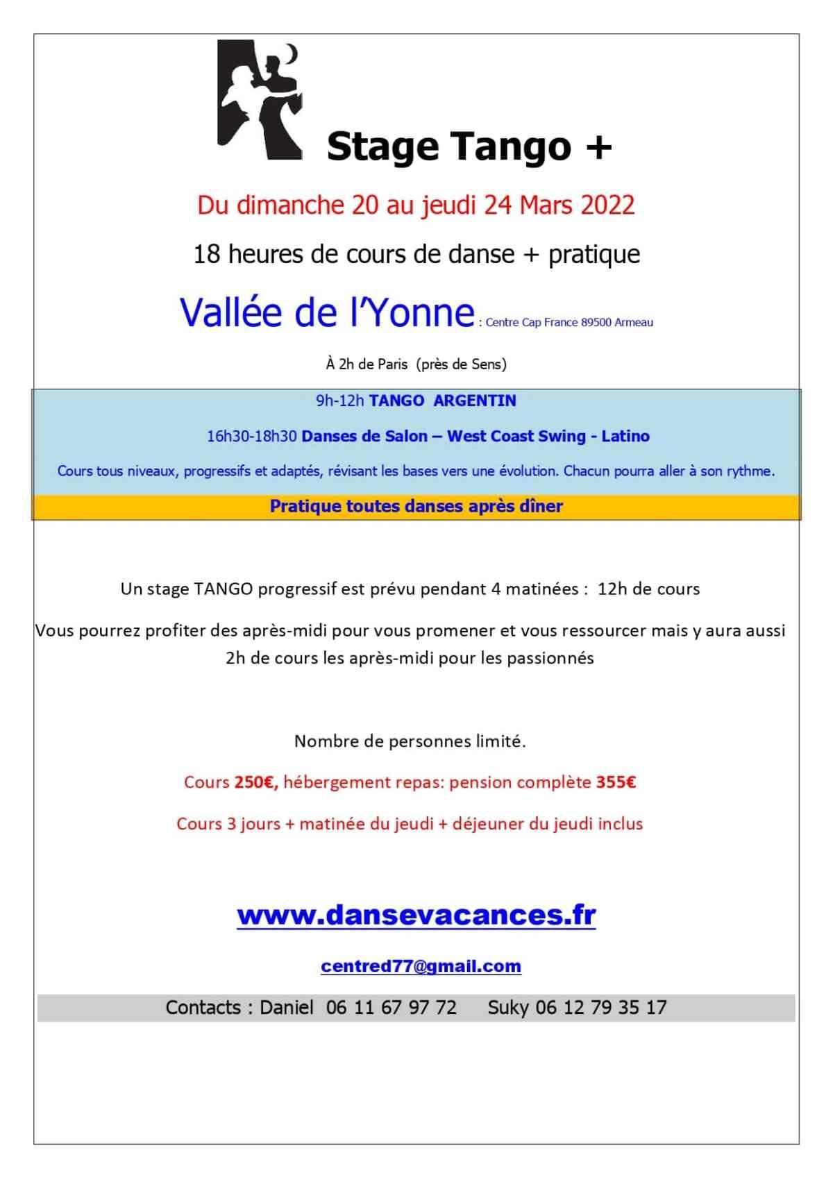 Stage de danse du 20 a 24 Mars 2022 à la Vallée de l'Yonne