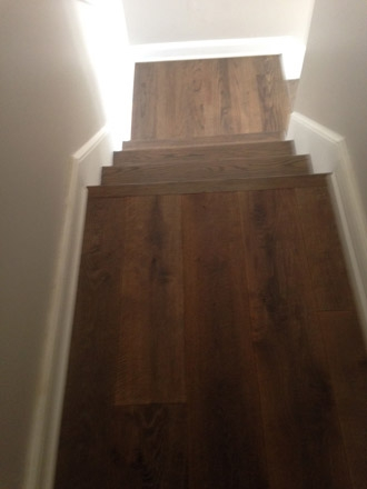 New European White Oak Wood Floors And Stair Tread Refinishing | European Oak Stair Treads | Basement Stairs | Hardwax Oil | Lumber | Risers | Wood Stair Railing