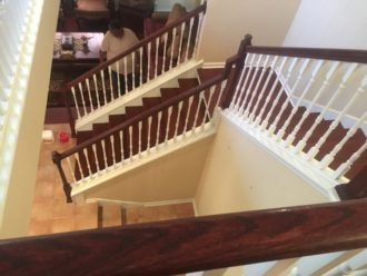 Brazilian Cherry Staircase With Wood Flooring Installation   Brazilian Cherry Stair Treads   Box   Walnut   Mahogany   Stained   Finished