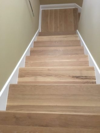 Wire Brushed White Oak Flooring And Staircase Marshview | Engineered Hardwood Stair Treads | Bullnose | Platform | Engineered Hardwood | Interior | Luxury Vinyl