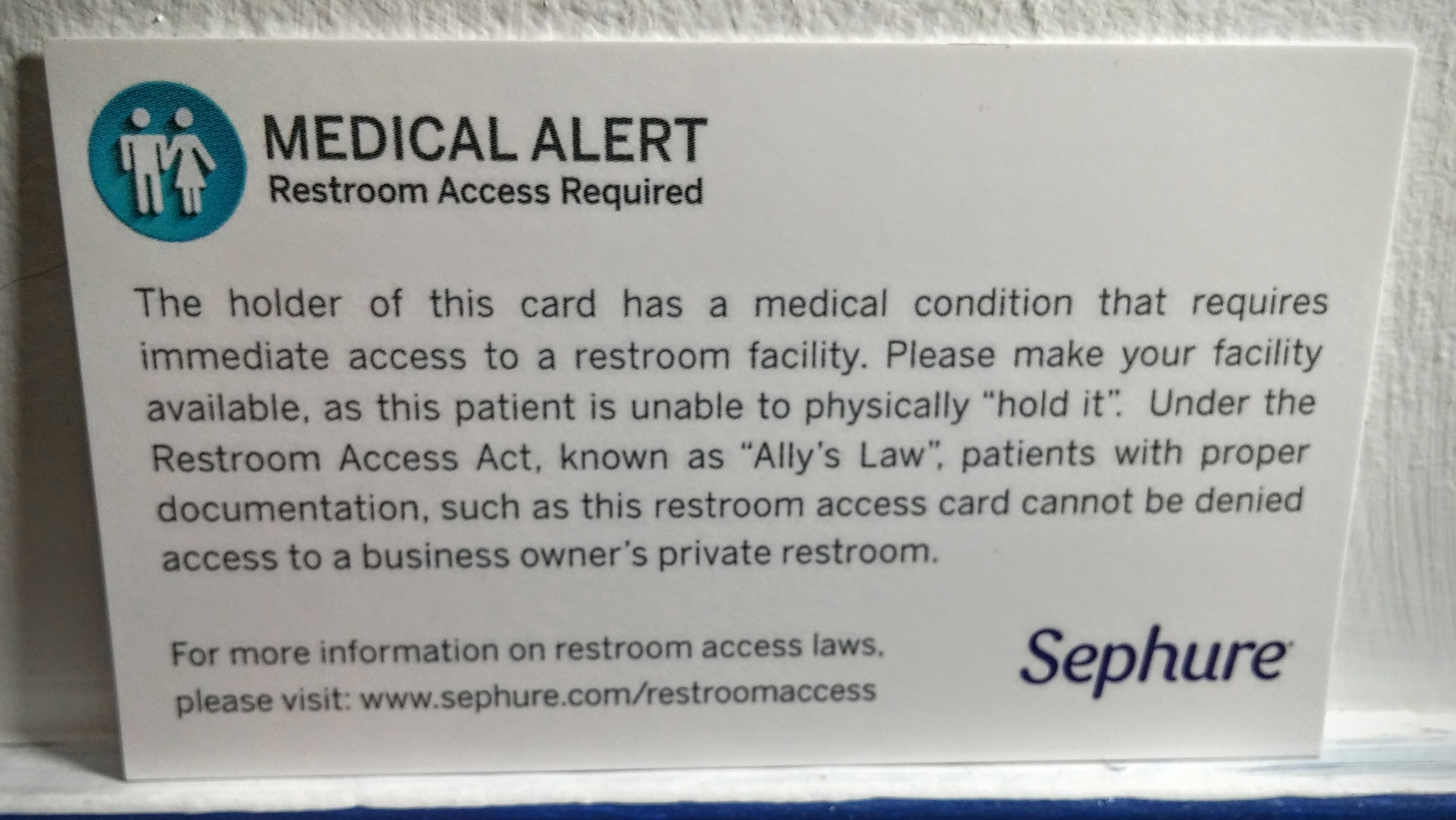 free restroom access cards for patients with ibd