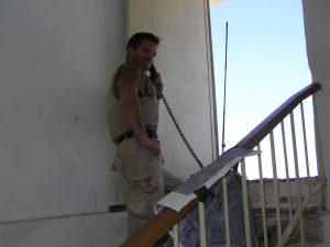 Relatively safe from enemy fire, I felt comfortable controlling airstrikes without my helmet on.  It was well over 110 degrees in the building we were occupying--August in Najaf.  pg 289