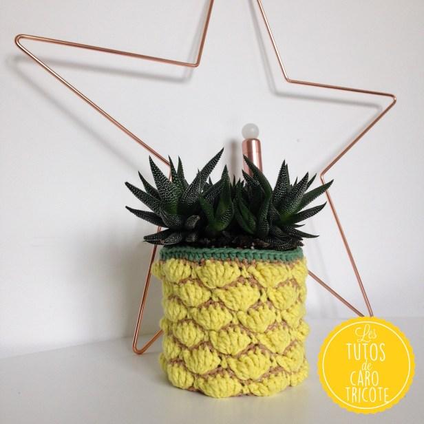 Tuto : Un cache-pot ananas au crochet