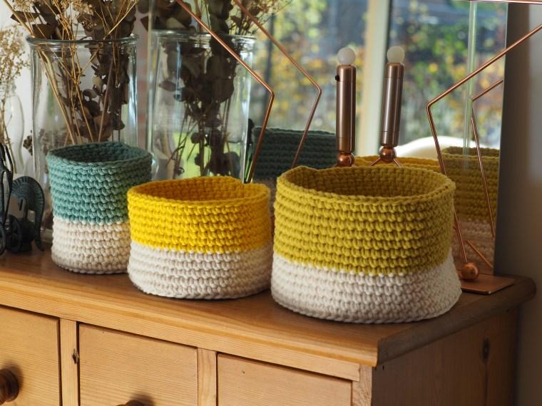 Trio de corbeilles au crochet - Tuto