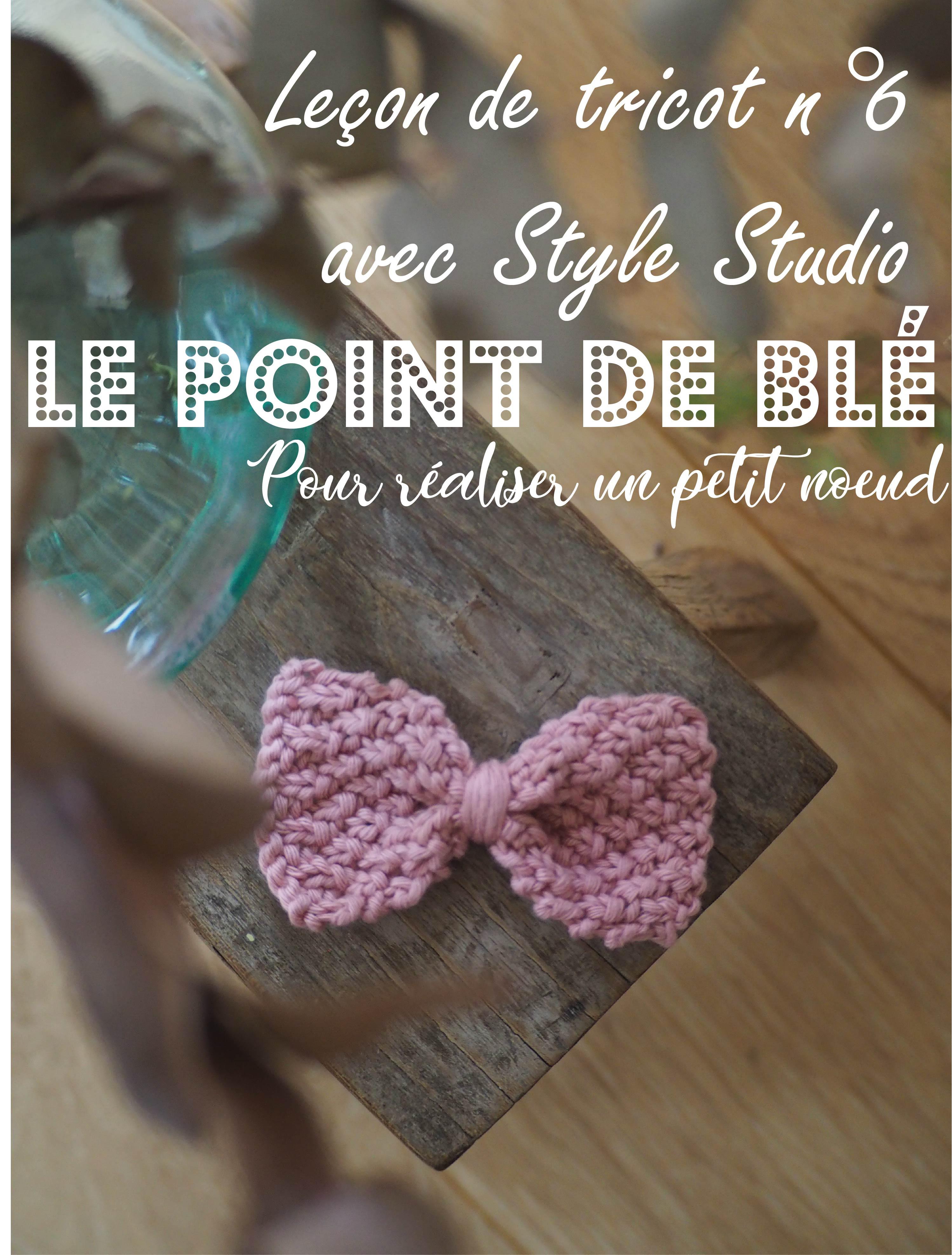 Leçon De Tricot N6 Avec Style Studio Le Point De Blé Pour