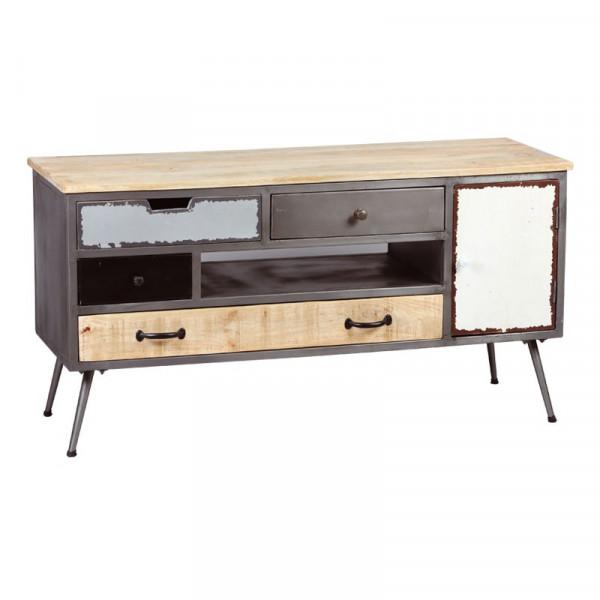meuble tv 1 porte 4 tiroirs bois metal pyplus