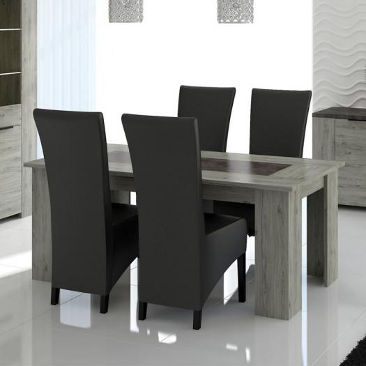 table de repas a allonge bois gris beton riucko