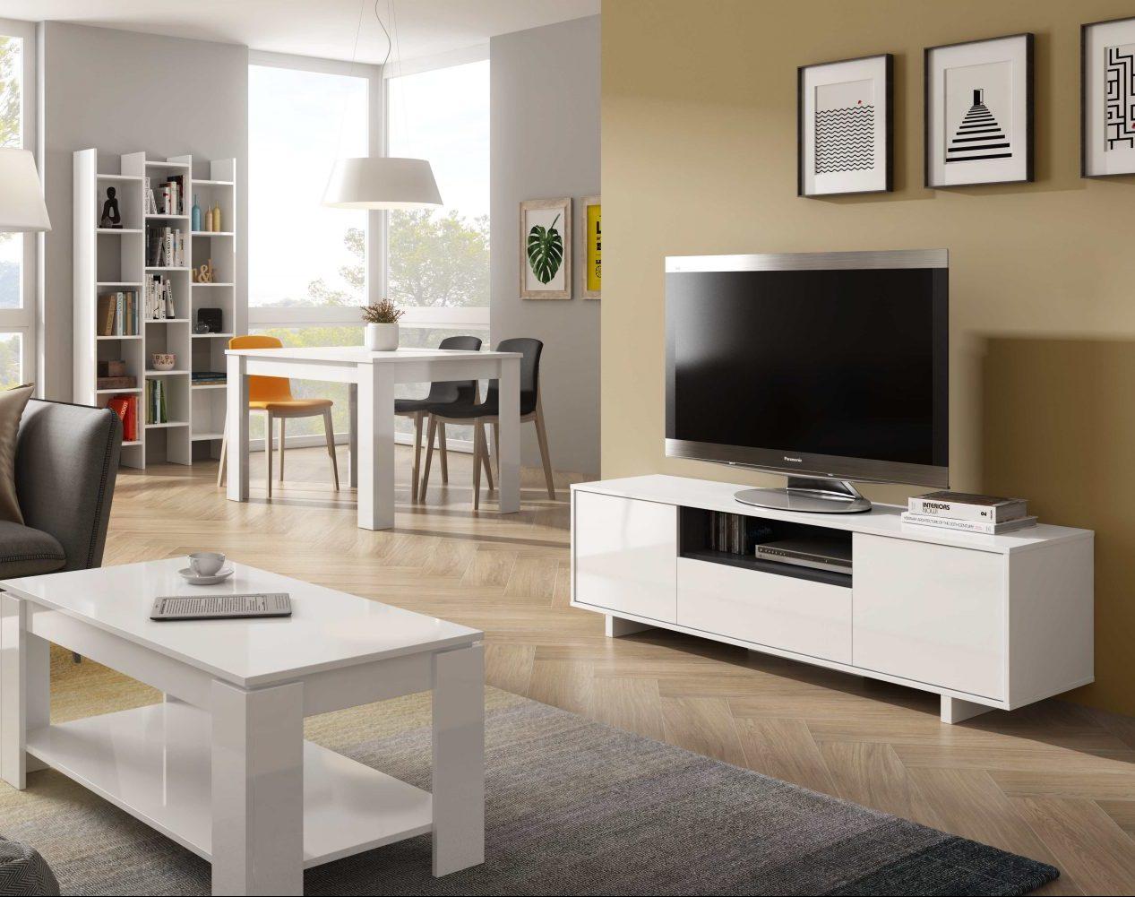 Zaira Meuble Tv Blanc 150 Cm A Prix Pas Cher Dansmamaison Maroc