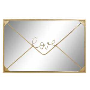 Miroir amour doré en métal 91,5x2x61 cm