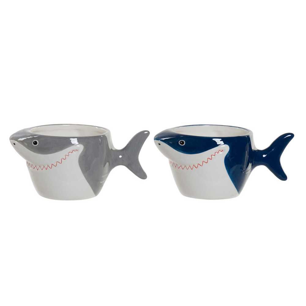 SET DE 2 Mugs requin en dolomite 19x11x9 cm