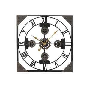 Pendule fer 61x6x61 engrenages noir