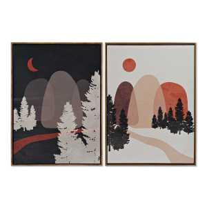 SET De 2 tableaux montagnes en toile 52,5X3,5X72