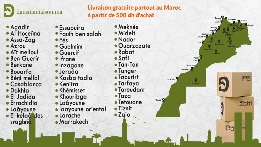 carte de la livraison des villes de Dansmamaison.ma