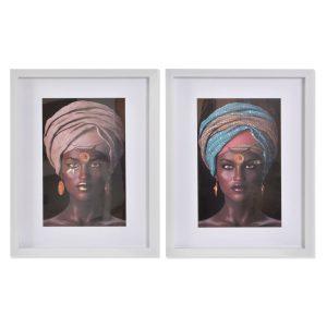 Set de 2 tableaux africaine 35x2x45