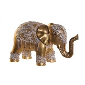 Eléphant vieilli doré figure en résine 39X16X23