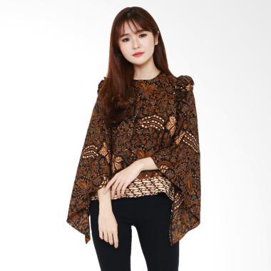 Baju Batik Wanita Lengan Panjang kasual warna cokelat
