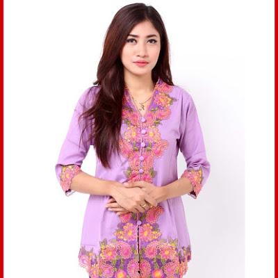 Baju Batik Wanita Pink Muda dan ungu