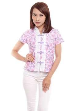 Baju Batik Wanita Pink Muda putih cocok untuk dipakai kantor dan harian