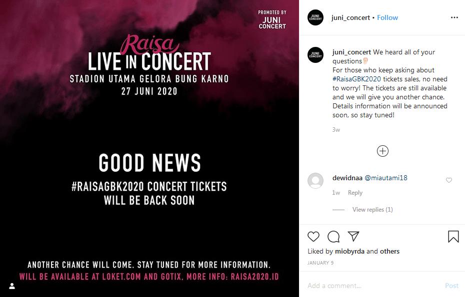Gambar Tiket konser Raisa sempat ludes terjual dan dibuka kembali