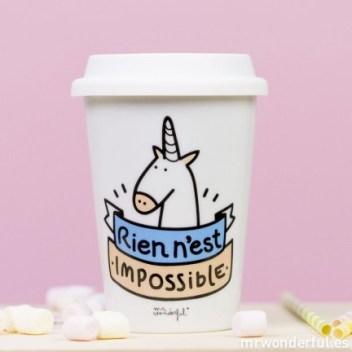 "Mug take away ""Rien n'est impossible"" Mister wonderful france"