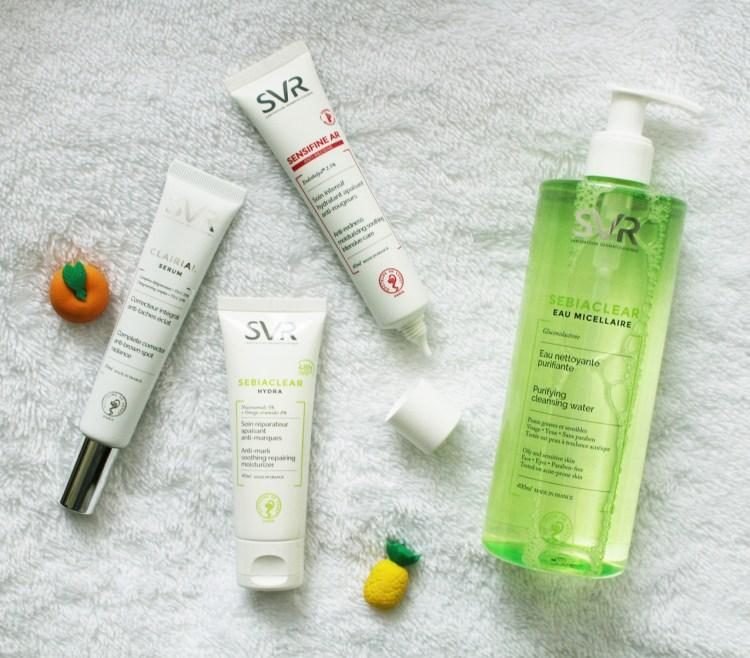 SVR Eau Micellaire et Soin réparateur anti-marques sebiaclear et Soin Intensif apaisant anti rougeur Sensitive AR Sérum Clairial