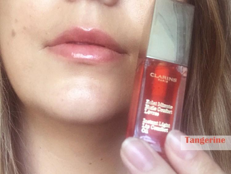 Clarins Eclat Minute Huile Confort Lèvres avis blog swatch Tangerine