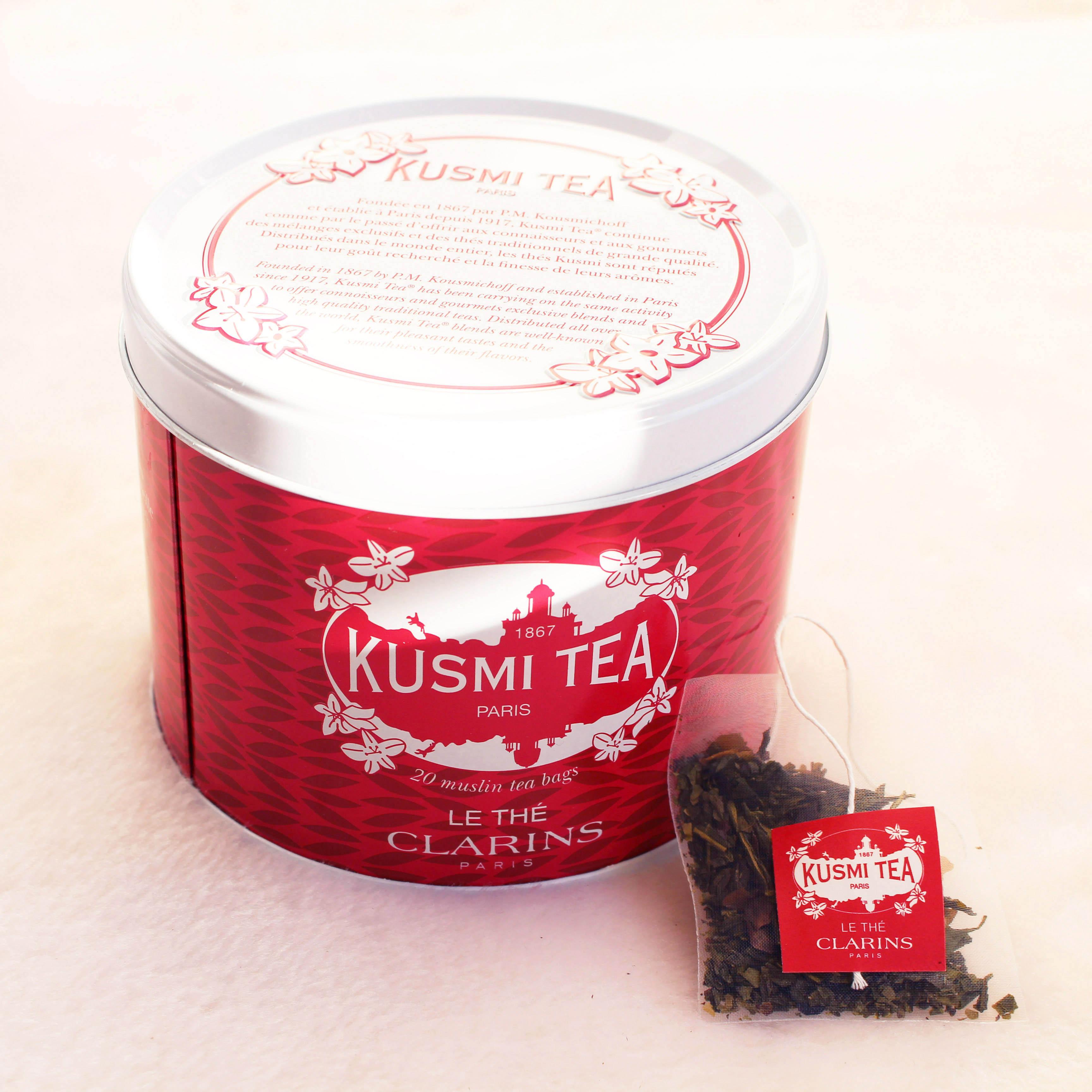 ma rentr e d tox avec le th kusmi tea x clarins dans mon sac de fille. Black Bedroom Furniture Sets. Home Design Ideas