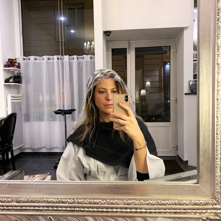Mon balayage à l'argi-blond adaptée aux femmes enceintes chez Celine Dupuy avis blog résultat photo