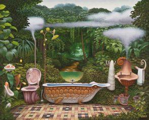 """Bien loin des représentations pop art de la fin du XXe siècle, l'artiste polonais Jacek Yerka a voulu faire de cet espace intime un univers propice à l'évasion. Une esthétique surréaliste et onirique qui redonne à la routine un goût de mystère. (""""The Bathroom"""", Jacek Yerka, 2003)"""