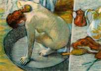 """Fin du XIXème siècle : l'ère du progrès, de la médecine et de l'hygiène. Alors que la toilette était jusque là représentée comme un rêve exotique, lointain écho des 1001 Nuits, l'hygiène quotidienne s'installe progressivement comme sujet de peinture pour les peintres impressionnistes. Le modèle est alors féminin, représenté seul : c'est la naissance du bain comme moment d'intimité. (""""Le Bain"""", Edgar Degas, 1886)"""