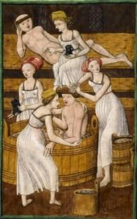 """Qui a dit que les moines devaient se priver d'un bon bain chaud en bonne compagnie ? (""""Moines dans le bain"""", Antithesis Christi et Antichristi, 1490-1510)"""