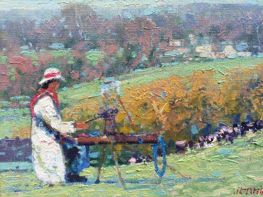 a painting of an artist at work in a field by artist John Terelak