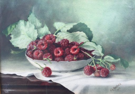 a painting of a still life of raspberries by artist Clara Arnold Maxfield