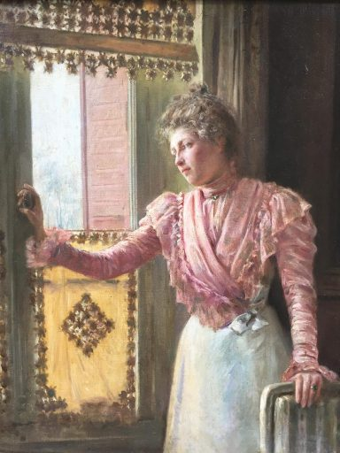 a painting of a woman looking out a window done by artist Clovis Didier