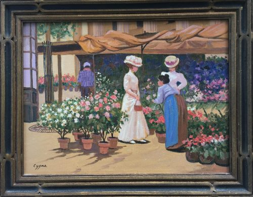 a contemporary painting of a paris market scene done by artist E.J. Cygne