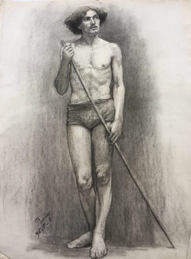 works on paper of nude man done by artist Isabelle Ferry for sale