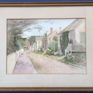painting of a street in Nantucket by artist Jane B. Reid