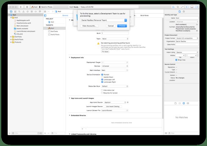 Xcode settings
