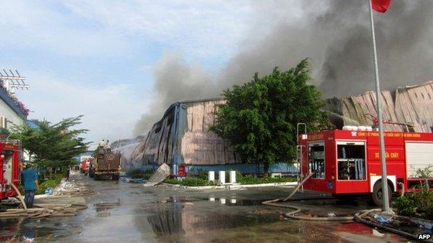 Investitie chineza din Vietnam incendiata