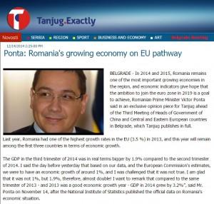 Tanjug - Ponta-Cresterea economica din Romania pe calea europeana
