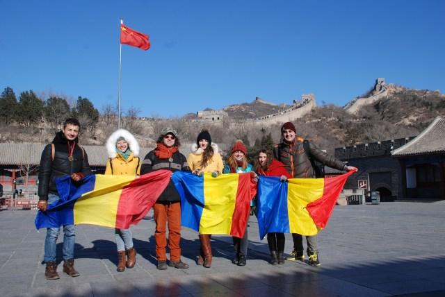 Tricolorul Romaniei pe Marele Zid, de Ziua Nationala 2014 A