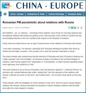 XINHUA - Premierul roman este pesimist cu privire la relatiile cu Rusia
