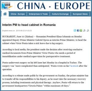 XINHUA – Guvernul Romaniei are un prim-ministru interimar