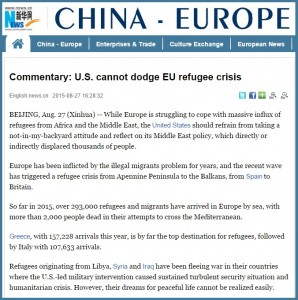 Xinhua - China arata spre SUA si UE in problema valurilor de imigranti din Europa